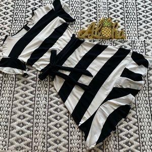 Loft Black and White Striped Ruffle Knit Dress